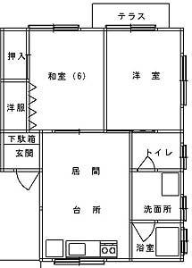 マリンハイツ B202号室  見取図